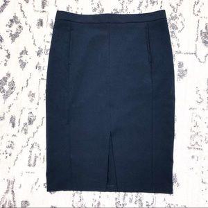 Zara Navy Pencil Skirt Slit in front Career Style